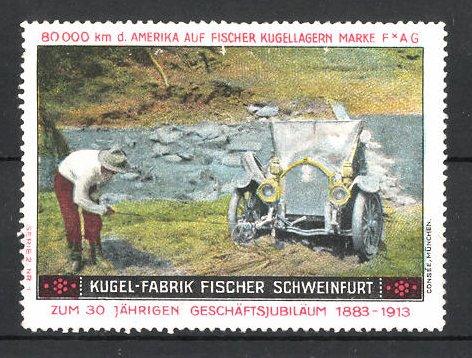 Reklamemarke Schweinfurt, Kugel-Fabrik Fischer, Fischer Auto USA 80,000 km Testfahrt, Auto an steiler Böschung