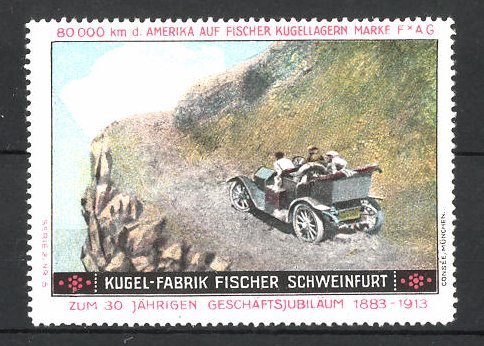 Reklamemarke Schweinfurt, Kugel-Fabrik Fischer, Fischer Auto USA 80,000 km Testfahrt, Auto am Abhang
