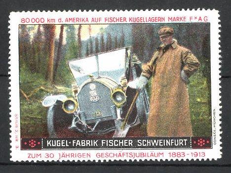 Reklamemarke Schweinfurt, Kugel-Fabrik Fischer, Fischer Auto USA 80,000 km Testfahrt, Auto hat sich festgefahren