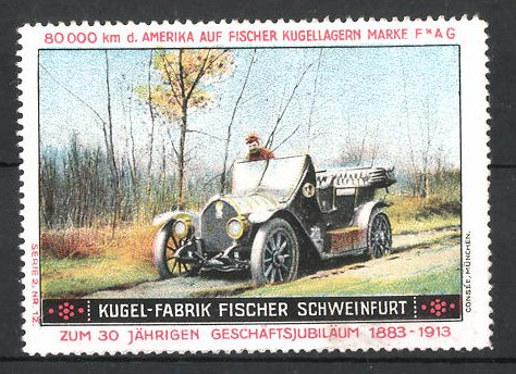 Reklamemarke Schweinfurt, Kugel-Fabrik Fischer, Fischer Auto USA 80,000 km Testfahrt, Auto auf unbefestigter Strasse