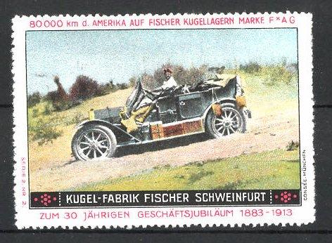 Reklamemarke Schweinfurt, Kugel-Fabrik Fischer, Fischer Auto USA 80,000 km Testfahrt, Auto auf einer Sandpiste