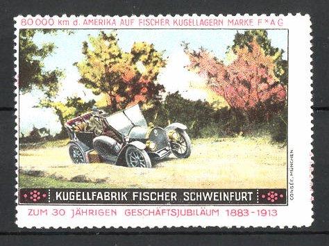 Reklamemarke Schweinfurt, Kugelfabrik Fischer, 80.000 km USA-Testfahrt, Fischer-Auto auf Sandpiste