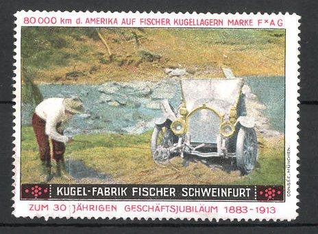 Reklamemarke Schweinfurt, Kugelfabrik Fischer, 80.000 km USA-Testfahrt, Fischer Auto an einer steilen Böschung