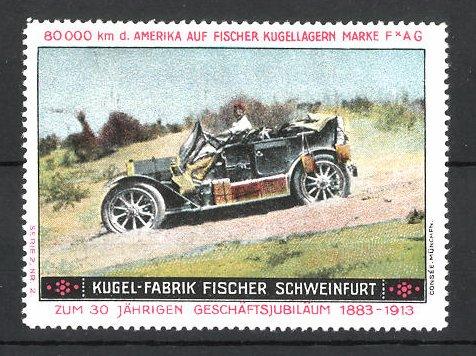 Reklamemarke Schweinfurt, Kugelfabrik Fischer, 80.000 km USA-Testfahrt, Fischer Auto auf einer staubigen Piste