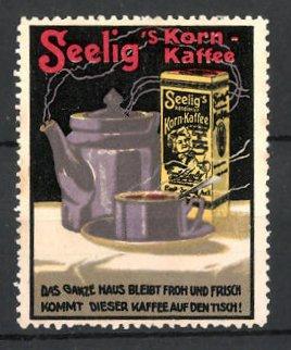 Reklamemarke Heilbronn, Seelig's Korn-Kaffee, frischer Kaffee & Packung Kaffee