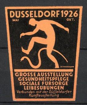 Künstler-Reklamemarke Schwarzkopf, Düsseldorf, Ausstellung für Gesundheitspflege & Leibesübungen 1926, Mann & Schlange