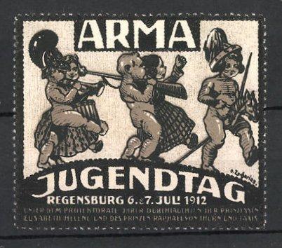 Künstler-Reklamemarke Zacharias, Regensburg, ARMA Jugendtag, Kinder mit Steckenpferd & Gewehr im Marsch