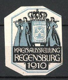 Künstler-Reklamemarke Paul Neu, Regensburg, Kreisausstellung 1910, Damen tragen Krone auf Sänfte