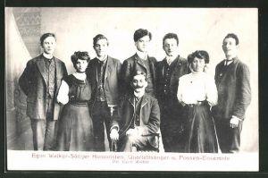 AK Egon Walker-Sänger Humoristen, Quartettsänger und Possen-Ensemble