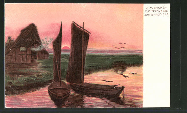 Künstler-Lithographie Sophie Wencke: Worpswede, Sonnenaufgang