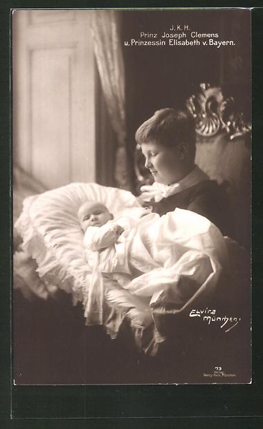 AK Prinz Joseph Clemens von Bayern mit der Prinzessin Elisabeth von Bayern als Baby