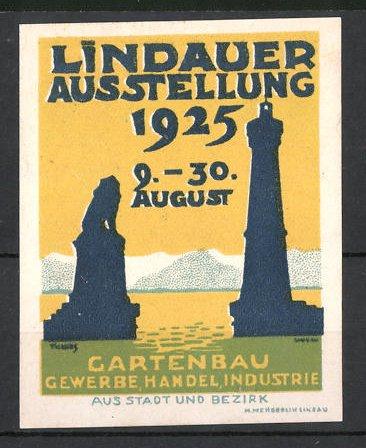 Künstler-Reklamemarke Lindau, Ausstellung für Gartenbau, Gewerbe, Handel und Industrie 1925, Leuchtturm