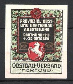 Reklamemarke Dortmund, Provinzial-Obst- & Gartenbau-Ausstellung 1913, Wappen mit Pferd