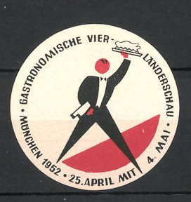 Reklamemarke München, Gastronomische Vier-Länderschau 1952, Kellner