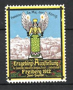 Reklamemarke Freiberg, Erzgebirgs-Ausstellung 1912, Logo