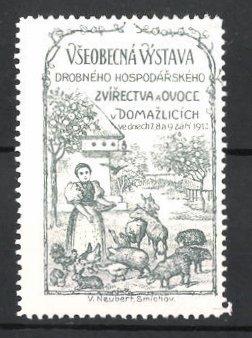 Reklamemarke Domazlicich, Vseobecna Vystava Drobneho Hospodarskeho Zvirectva a Ovoce 1913, Bäuerin füttert Tiere