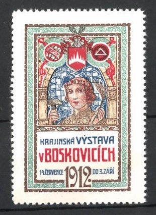 Reklamemarke Boskovicich, Krajinska Vystava 1912, Messelogo