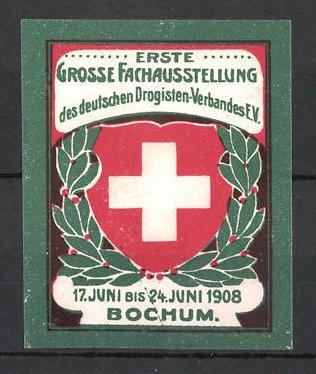 Reklamemarke Bochum, 1. Grosse Fachausstellung des Deutschen Drogisten-Verbandes 1908, Rotes Kreuz