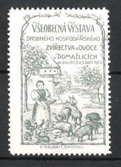Reklamemarke Domazlice, Vseobecná Vystava Drobného Hospodarského 1913, Bäuerin fütter ihre Tiere