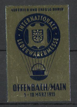 Reklamemarke Offenbach, Internationale Lederwarenmesse 1955, Fessel-Ballon