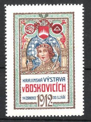 Reklamemarke Boskovice, Krajinská Vystava v Boskovicich 1912, Frau mit Hammer und Kornähren