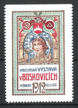 Reklamemarke Boskovice, Krajinská Vystava v Boskovicich 1912, Frau mit Hammer und Ähren