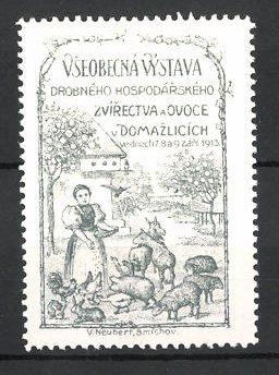 Reklamemarke Domazlice, Vseobecna Vystava Drobného Hospodarskeho, Zvirectva a Ovoce 1913