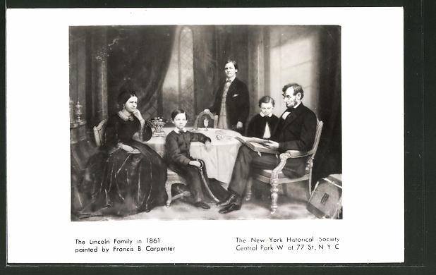 Künstler-AK The Lincoln Family in 1861, Präsident der USA Lincoln im Kreis seiner Familie