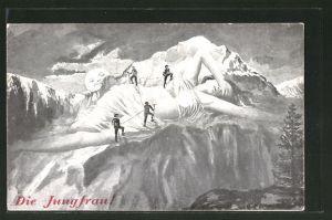 Künstler-AK Bergsteiger auf der Jungfrau, Berg mit Gesicht / Berggesichter