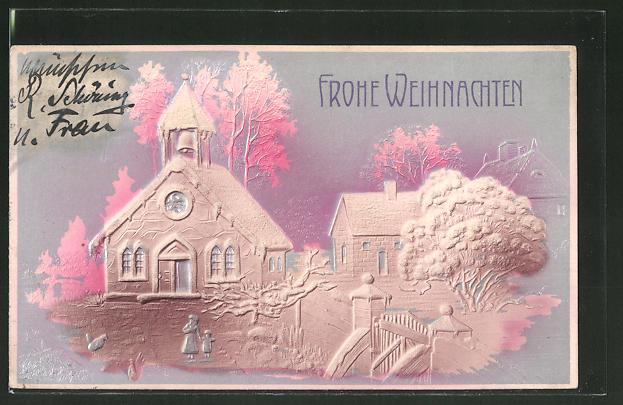 Präge-Airbrush-AK Weihnachtsgruss, Darstellung einer Kirche