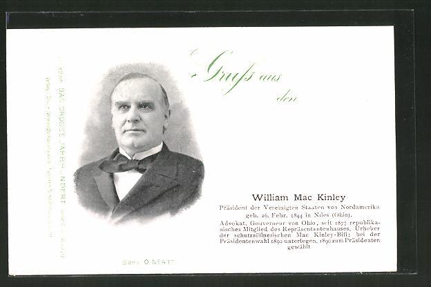 AK William Mac Kinley, Präsident der USA