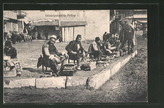 AK Prilep, Stiefelputzer am Strassenrand