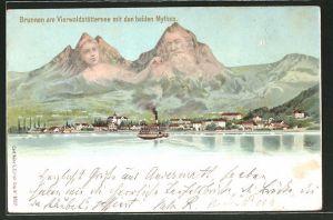 Künstler-AK Künzli Nr. 5022: Brunnen , Ortsansicht mit den Mythen, Berg mit Gesicht / Berggesichter