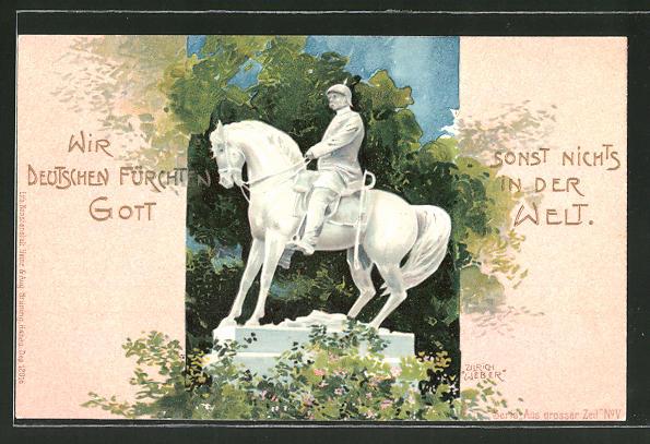 Künstler-AK Ulrich Weber: Denkmal Kaiser Wilhelm I.Bismarck zu Pferd