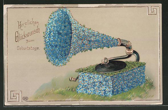 AK Grammophon verziert mit Vergissmeinnichtblüten