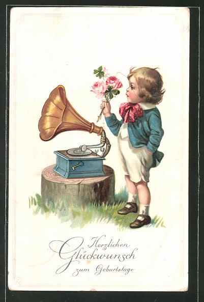 AK Glückwunsch zum Geburtstage, Knabe mit Grammophon