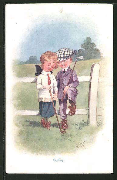 Künstler-AK T. Gilson: Golfing, Kleines Paar