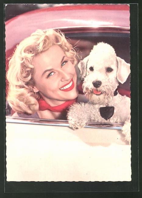 AK Schauspielerin Bibi Johns mit Hund lächlend aus dem Auto blickend