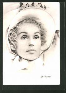 AK Schauspielerin Lilli Palmer mit einem Hut