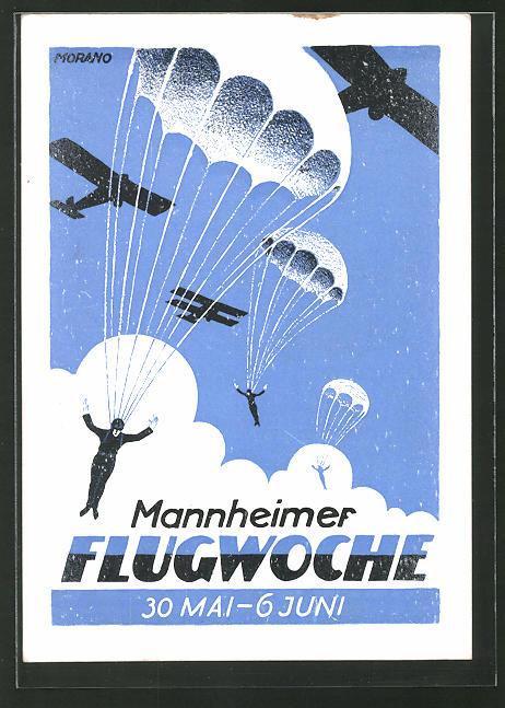 Künstler Mannheim künstler ak mannheim mannheimer flugwoche 1926 fallschirmspringer