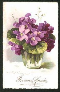 Künstler-AK Catharina Klein: Vase mit lilanen Blumenstrauss