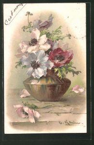 Künstler-AK Catharina Klein: Vase mit Mohnblumen