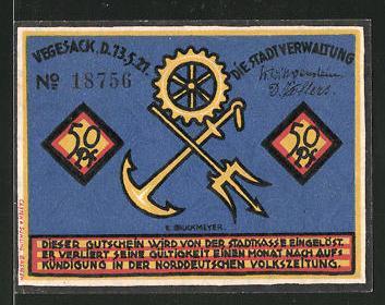 Notgeld Vegesack 1921, 50 Pfennig, Anger und Dreizack, Matrose
