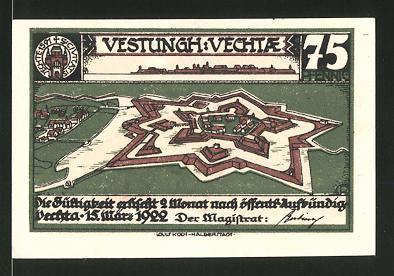 Notgeld Vechta 1922, 75 Pfennig, Festungs-Ansicht, Kettenhund geht zur Strafe um