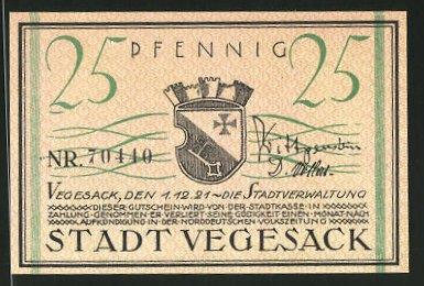 Notgeld Vegesack 1921, 25 Pfennig, Stadtwappen, Weserdampfer