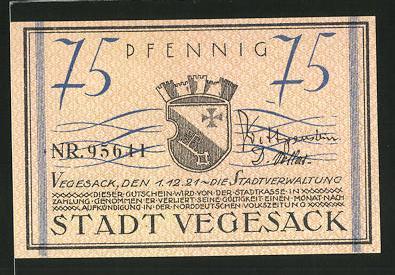 Notgeld Vegesack 1921, 75 Pfennig, Stadtwappen, Weserdampfer