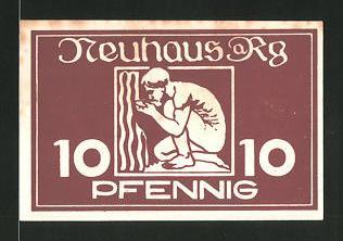 Notgeld Neuhaus am Rennweg, 10 Pfennig, Mann trinkt aus Heilquelle