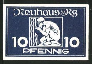 Notgeld Neuhaus am Rennweg 1921, 10 Pfennig, Mann trinkt aus Heilquelle