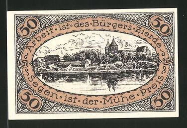 Notgeld Neidenburg in Ostpreussen 1921, 50 Pfennig, Stadtwappen, Ortsansicht