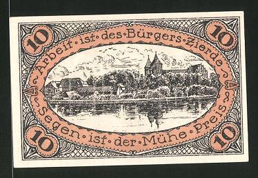 Notgeld Neidenburg in Ostpreussen 1921, 10 Pfennig, Stadtwappen, Ortsansicht